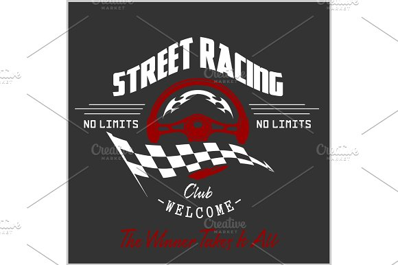 Street Racing Club Badge And Design Elements