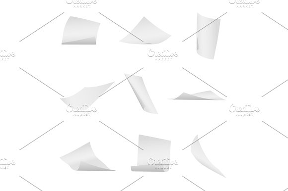 Flying Falling Office White Paper Sheets Vector Set