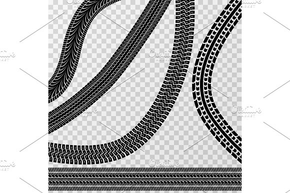 Different Tire Car And Bike Tracks Isolated On Checkered Background Vector Stock