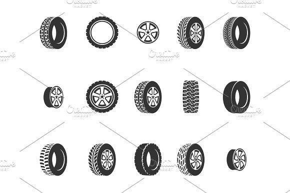 Tires Wheel Disks Auto Service Vector Icons