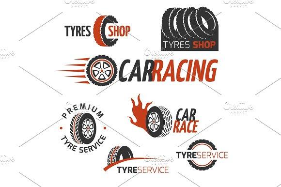 Automobile Rubber Tire Shop Car Wheel Racing Vector Logos And Labels Set