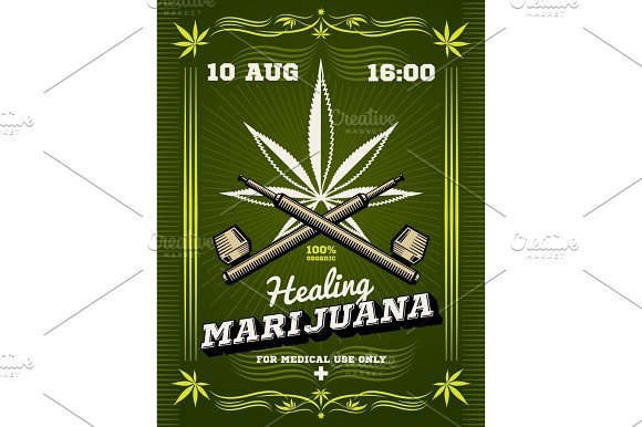 Marijuana Smoker Weeds Drug Warning Vector Background