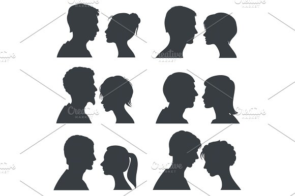 Couple Faces Young Boy And Girl Head Vector Silhouettes Isolated On White