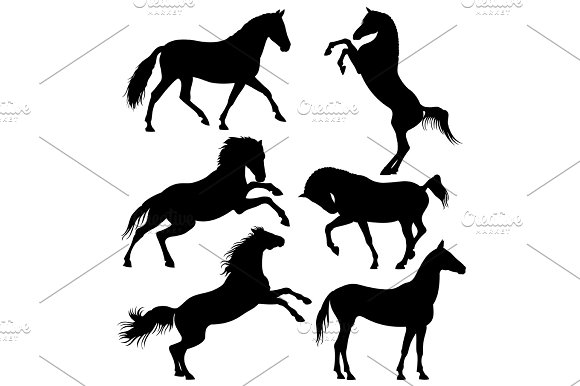 Dark Wild Horse Running Horses Vector Silhouettes Isolated On White Background