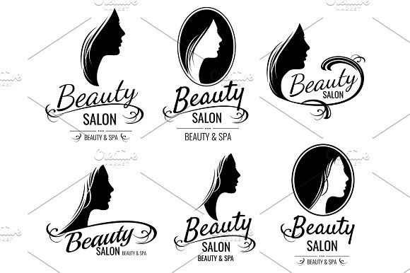 Beautiful Female Face Portrait Woman Head Silhouette Vector Logo Templates For Barber Shop Beauty Salon Cosmetic Products Spa Center