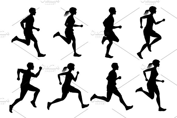 Running Male And Female Jogging People Vector Silhouettes