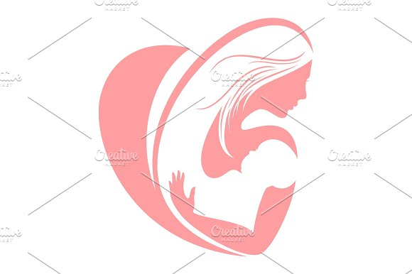 Mum And Happy Child Silhouettes Mothers Day Vector Concept