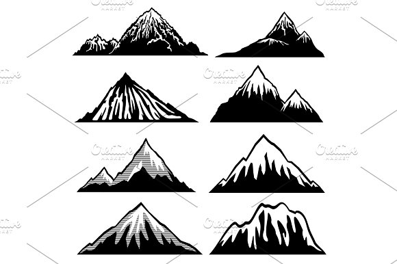 Highlands Mountains Vector Silhouettes With Snow Capped Peaks And Hillsides