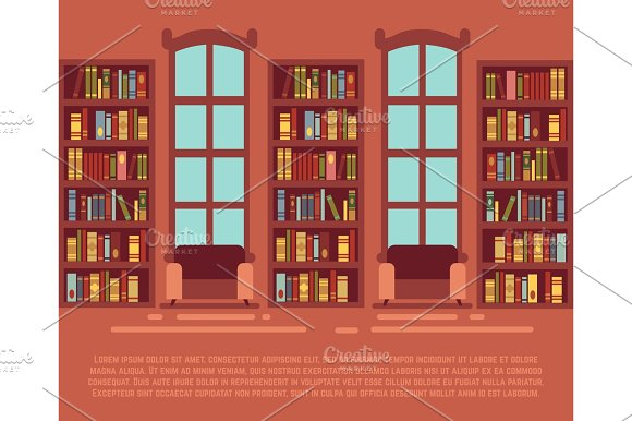 Modern Library Empty Interior With Bookcase Bibliotheca With Bookselves Vector Illustration