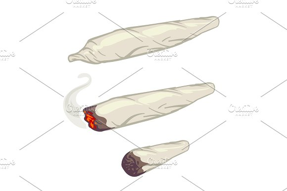 Marijuana Joint Spliff Smoking Drug Cigarette Vector Illustration