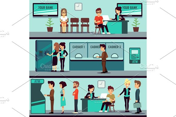 Bank Office Interior With People Clients And Bank Clerks Vector Flat Banking Concept