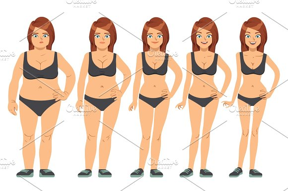 Girl Young Woman Before And After Diet And Fitness Weight Loss Steps Vector Illustration