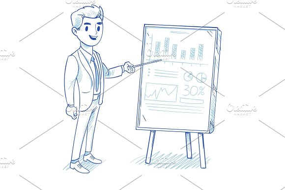 Happy Businessman Explains Product Sales Chart Successful Strategy Business Vector Concept Hand Drawn Doodle Vector Illustration