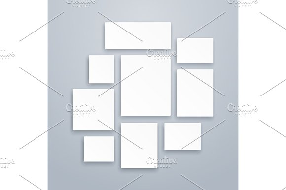 Blank White 3D Paper Canvas Or Photo Frames Vector Posters Mockups