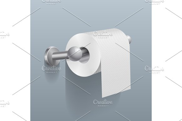 White Toilet Paper Roll Serviette On Wall Vector Illustration