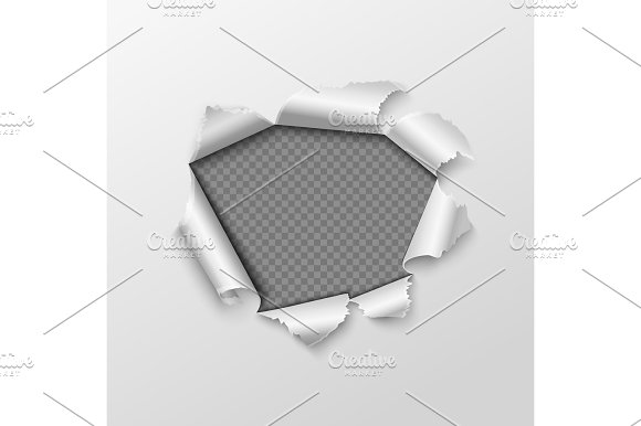 Paper Hole With Torn Edges Isolated On Transparent Checkered Background