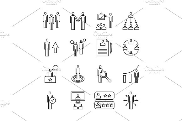 Team Work Line Icons And Management Linear Vector Signs