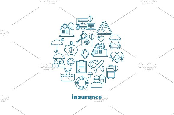 Home Insurance And Property Line Vector Icons In Circle Design
