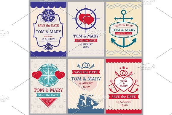 Nautical Congratulations Vector Backgrounds For Wedding Invitation With Anchor And Sea Design