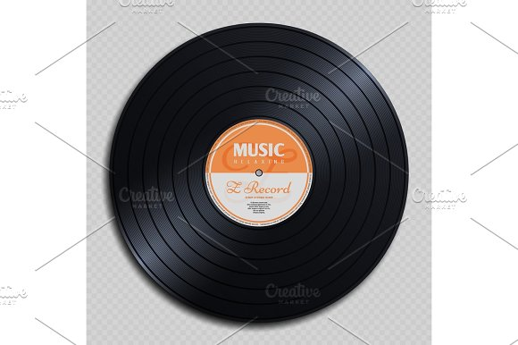 Audio Analogue Record Vinyl Vintage Disc Isolated On Transparent Background Vector Illustration