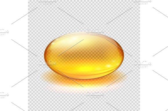 Transparent Yellow Capsule Of Drug Vitamin Or Fish Oil Macro Vector Illustration