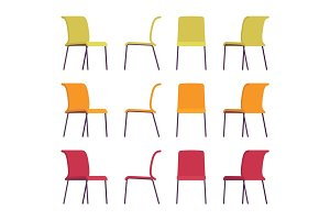 Set of office chairs in differnt colors