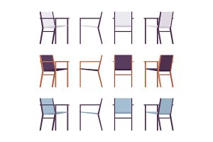 Set of retro armchairs in differnt colors