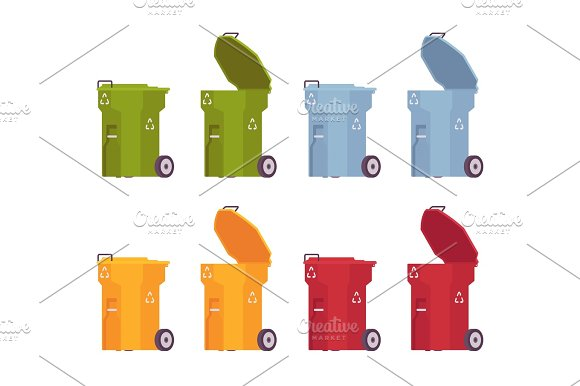 Set Of Colored Trash Bins On Wheels Open And Closed