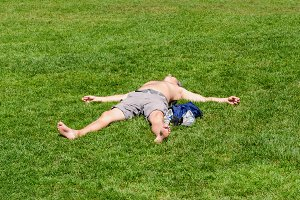 Man lying on the grass