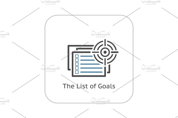 The List Of Goals Icon Flat Design