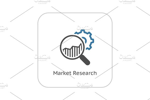 Market Research Icon Flat Design