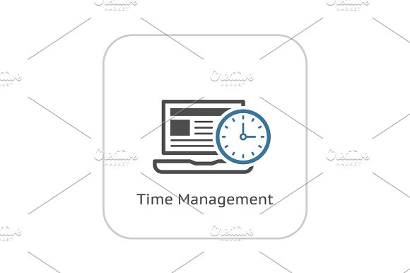 Time Management Icon Business Concept Flat Design
