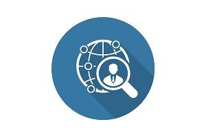 Global Search Icon. Flat Design.