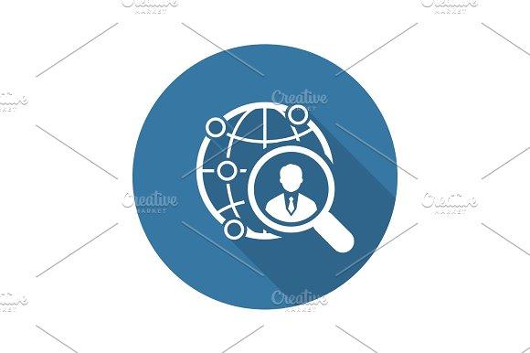 Global Search Icon Flat Design