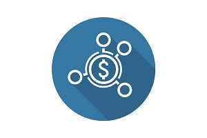 Money Distribution Icon. Flat Design.