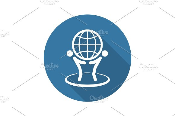 Global Business Icon Flat Design
