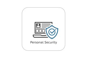 Personal Security Icon. Flat Design.