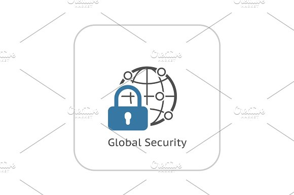 Global Security Icon Flat Design