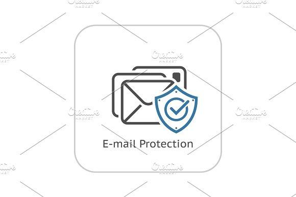 E-mail Protection Icon Flat Design