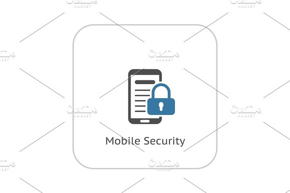 Mobile Security Icon Flat Design