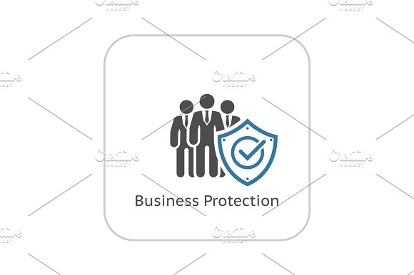 Business Protection Icon Flat Design