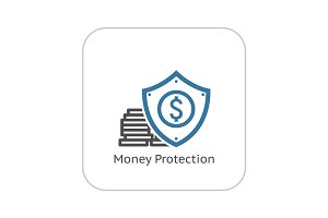 Money Protection Icon. Flat Design.