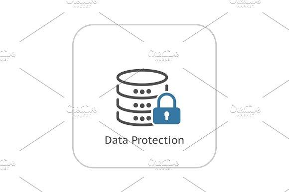 Data Protection Icon Flat Design
