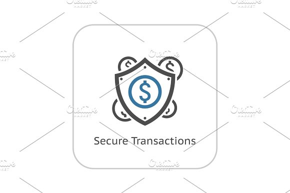 Secure Transactions Icon Flat Design