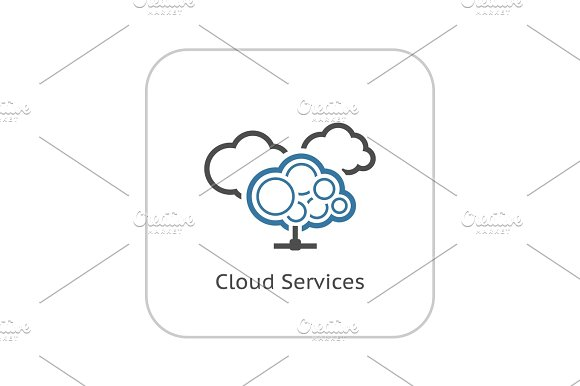 Cloud Services Icon Flat Design