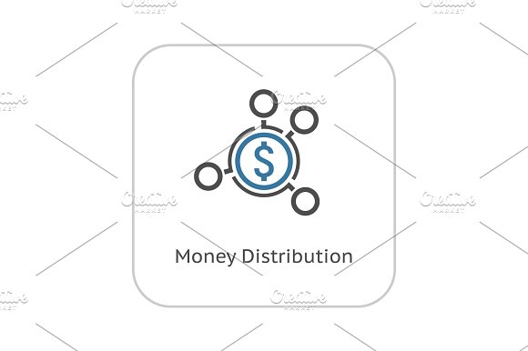 Money Distribution Icon Flat Design