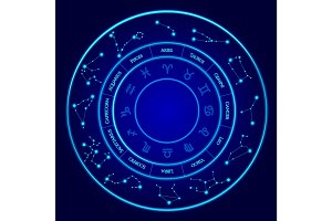 Constellations Vector Set. Twelve signs of the zodiac located in a circle. Blue neon horoscope circle.