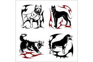 Tribal Dog Design - Vector illustration