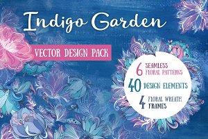 Indigo Garden Vector Florals