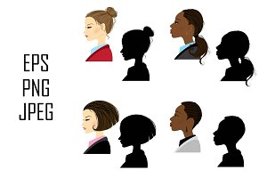 Set of 8 women in profile